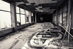 Abandoned building interior. Black and white Stock Images