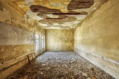 Abandoned building interior. Abandoned and desolate interior of social building Royalty Free Stock Photo