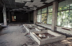 Abandoned building interior. Old corridor view Stock Photo