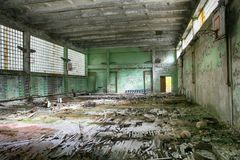 Abandoned Building Interior in school gym in Chernobyl Zone. Chornobyl Disaster Royalty Free Stock Photos