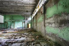 Abandoned Building Interior in school gym in Chernobyl Zone. Chornobyl Disaster Stock Photos
