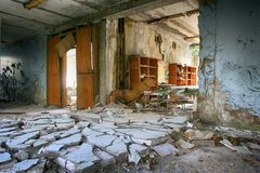 Abandoned Building Interior in school in Prypiat town in Chernobyl Zone. Chornobyl Disastermusic Royalty Free Stock Photography