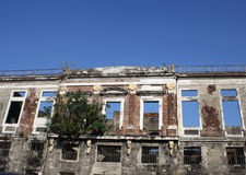 Abandoned building. Located in Intramuros, the historic Walled City of Manila. This rectagular shape building was destroyed in WW II and reconstructed but caught Royalty Free Stock Images