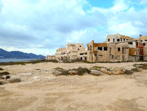 Abandoned building on the Mediterranean coast in Sicily Royalty Free Stock Photography