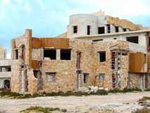 Abandoned building on the Mediterranean coast in Sicily Royalty Free Stock Image
