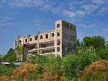 Abandoned building near Danube River in Braila, Romania. Braila, Romania - May 20, 2018: abandoned building near Danube River Royalty Free Stock Photography