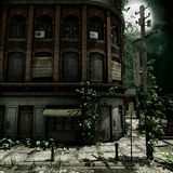 Abandoned building at night. Old abandoned city building at night by the moonlight stock illustration