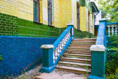 Abandoned building. Old buildings. Abandoned building. The old building is an abandoned staircase bright Royalty Free Stock Photography