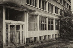 Abandoned building. An old burned and abandoned sovietic building with broken doors and windows and a tree infront of it Stock Photo