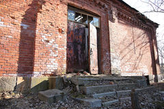 Abandoned building from red brick Stock Photos