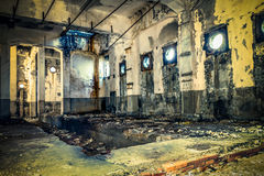 Abandoned building with round windows Royalty Free Stock Photo