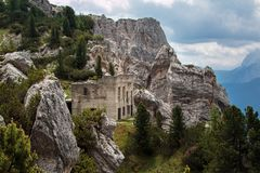 Abandoned Building Ruins in Italian Dolomites Alps Scenery Royalty Free Stock Photo