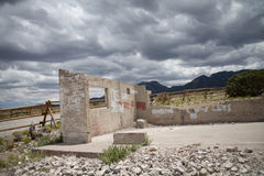Abandoned building with scenic trees and mountains Stock Photography