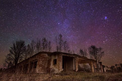 Abandoned building with star sky Stock Photography