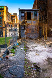 Abandoned building and trash in Baltimore, Maryland. Stock Image