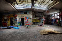 Abandoned buildings. Old abandoned buildings with graffiti Royalty Free Stock Photos