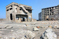Abandoned buildings on Gunkajima in Japan Royalty Free Stock Photos