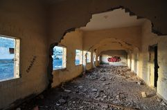 Abandoned Buildings. Of a Military Base at Sunset Royalty Free Stock Images