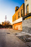 Abandoned buildings at Old Town Mall, in Baltimore, Maryland. Royalty Free Stock Photography