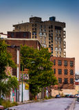 Abandoned buildings on a street in Baltimore, Maryland. Royalty Free Stock Photo