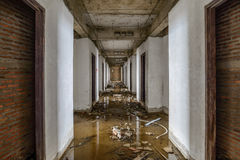 Abandoned buildings were flooded Stock Image