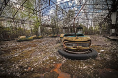 Abandoned bumper cars in Pripyat Royalty Free Stock Photos