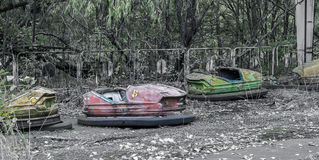 Abandoned bumper cars stock photos