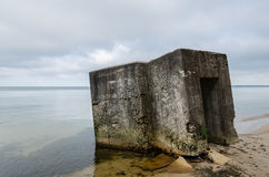 Abandoned bunker on the beach Royalty Free Stock Image