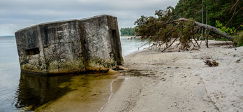 Abandoned bunker on the beach Royalty Free Stock Images