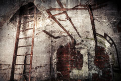 Abandoned bunker interior with rusted constructions Stock Photos
