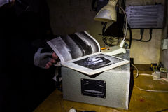 Abandoned bunker inventory. Ex soviet cold war shelter Royalty Free Stock Images