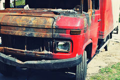 Abandoned burnt down car Royalty Free Stock Photo