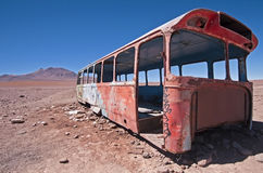 Abandoned Bus. In the Bolivian Desert Stock Photos