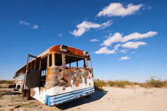 Abandoned Bus. Abandoned old bus in Mojave desert, CA Stock Images