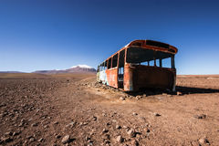 Abandoned Bus. An abandoned bus on the border between Bolivia and Chile Royalty Free Stock Photo