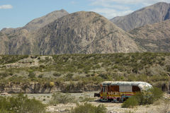 Abandoned Bus in the Deserts of Argentina Stock Photo