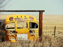 Abandoned bus. Old bus abandoned in desert Stock Photo