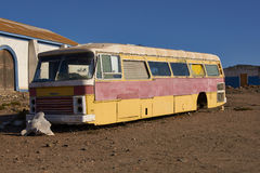 Abandoned Bus. In the small fishing village of Carrizal Bajo off the coast of the Atacama Desert in Chile Stock Photos