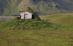 Abandoned cabin.Iceland. South area. Lakagigar. Royalty Free Stock Image