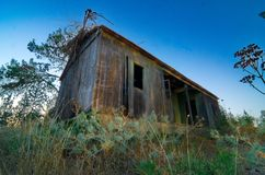 Abandoned Cabin - Light Painting Royalty Free Stock Photography