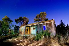 Abandoned Cabin - Light Painting Royalty Free Stock Photos