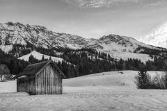 Abandoned cabin. An abandoned cabin in the ski resort Oberjoch in Germany Royalty Free Stock Image