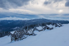 Abandoned cabins on the snow Royalty Free Stock Photography