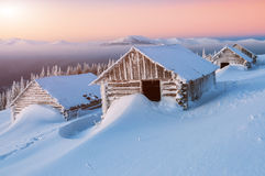 Abandoned cabins, winter Royalty Free Stock Photography