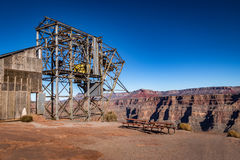 Abandoned cable aerial tramway of mine at Guano Point - Grand Canyon West Rim, Arizona, USA Royalty Free Stock Images
