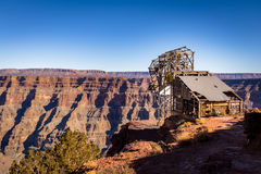 Abandoned cable aerial tramway of mine at Guano Point - Grand Canyon West Rim, Arizona, USA Stock Images