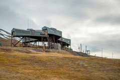 Abandoned cablecar station used for coal transportation, Svalbar Royalty Free Stock Photography