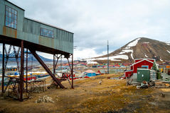 Abandoned cablecar station used for coal transportation, Svalbar Stock Photos