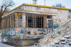Abandoned Cafe with graffiti in the stadium Stock Photos