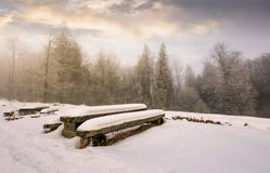 Abandoned camping place in winter forest. Amazing weather with hoarfrost at sunrise Royalty Free Stock Images